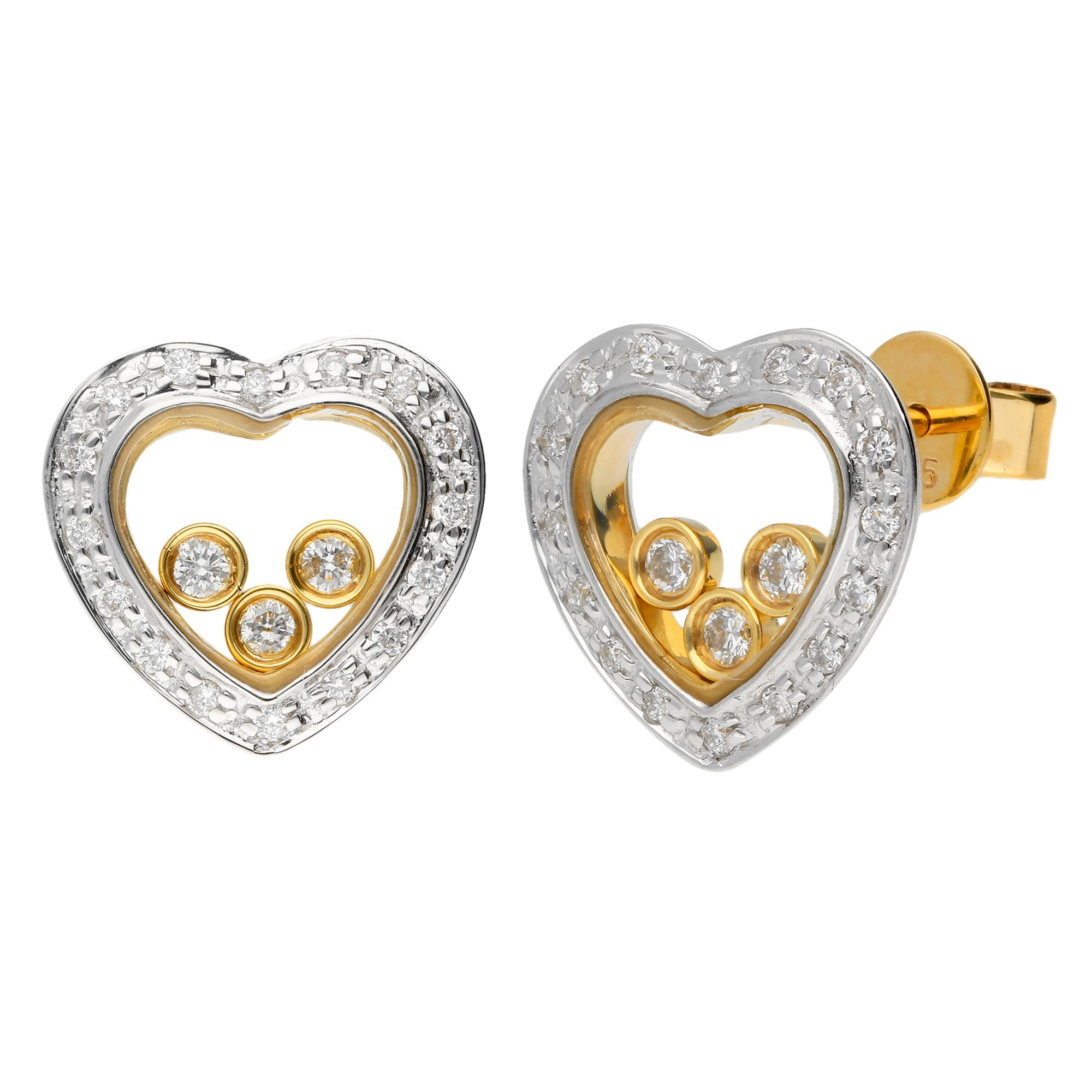 9ct Yellow White Gold Floating Diamond Heart Stud Earrings Buy Online Free And Fast Uk Insured Delivery