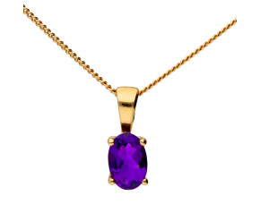9ct Yellow Gold 0.40ct Amethyst Solitaire pendant