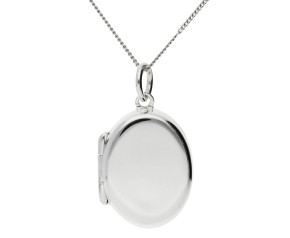 Sterling Silver Plain Oval Locket