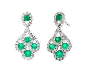 18ct White Gold 0.50ct Emerald & 0.30ct Diamond Peacock Drop Earrings