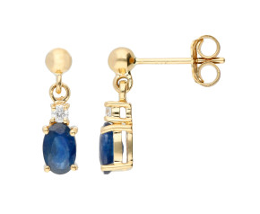 9ct Yellow Gold 6mm Sapphire & Diamond Oval Shape Drop Earrings