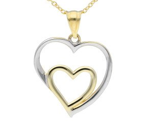 9ct Yellow & White Gold Heart Pendant