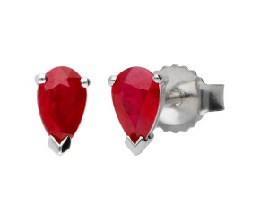 9ct White Gold 0.50ct Pear Ruby Solitaire Stud Earrings