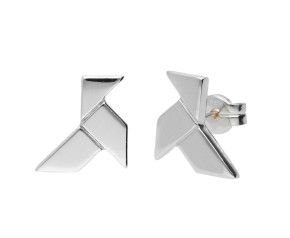 9ct White Gold Origami Bird Stud Earrings