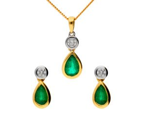 18ct Yellow Gold 0.70ct Emerald & 0.15ct Diamond Pendant and Earrings Jewellery Set
