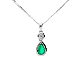18ct White Gold 0.38ct Emerald & 0.06ct Diamond Drop Pendant