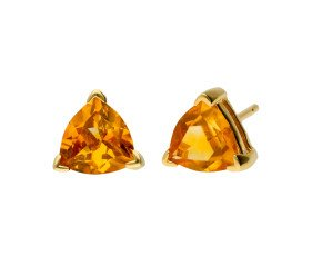 9ct Yellow Gold Trillion Cut Citrine Solitaire Stud Earrings