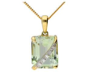 9ct Yellow Gold Green Amethyst & Diamond Pendant