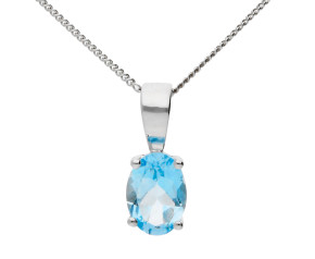 9ct White Gold 0.68ct Oval Aquamarine Solitaire Pendant