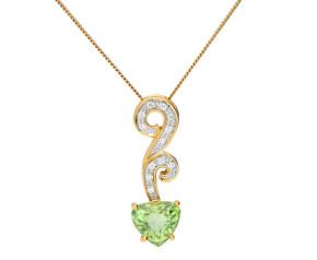 18ct Yellow Gold 2ct Peridot & Diamond Fancy Pendant