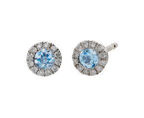 18ct White Gold 0.20ct Aquamarine & 0.10ct Diamond Cluster Stud Earrings