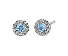 18ct White Gold 0.20ct Aquamarine & 0.10ct Diamond Cluster Stud Earrings