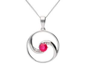 9ct Gold Ruby & Diamond Pendant