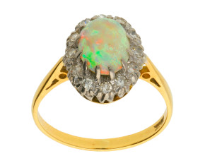 Vintage 18ct Yellow Gold 1.46ct Opal & 0.22ct Diamond Cluster Ring