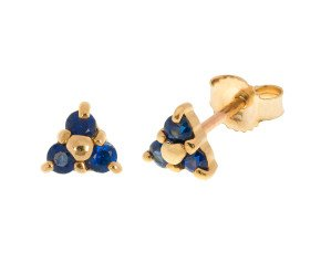 9ct Gold 0.25ct Sapphire Triple Stone Stud Earrings