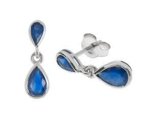 9ct White Gold 1.40ct Sapphire Drop Earrings