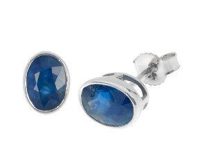 9ct Gold 1.80ct Rub-Over Sapphire Solitaire Earrings