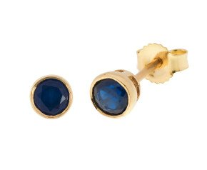 9ct Gold 0.50ct Rub-Over Sapphire Solitaire Earrings