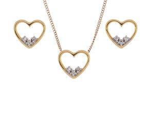 9ct Yellow Gold Diamond Heart Pendant & Stud Earrings Set