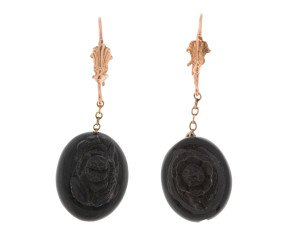 Antique Victorian Carved Jet Earrings
