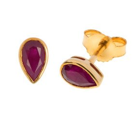 9ct Yellow Gold 0.50ct Ruby Solitaire Stud Earrings