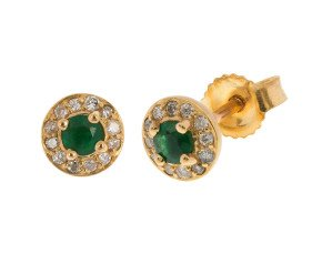 9ct Yellow Gold 0.19ct Emerald & 0.12ct Diamond Cluster Stud Earrings