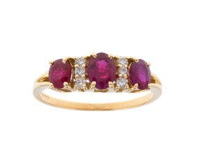 18ct Yellow Gold 1.50ct Ruby & Diamond Dress Ring