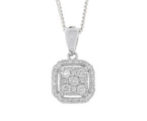 18ct White Gold 0.20ct Diamond Cluster Pendant