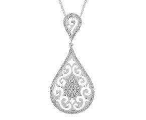 9ct White Gold 0.25ct Diamond Pendant