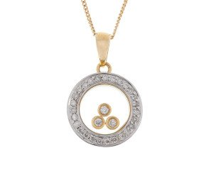 9ct Yellow & White Gold Floating Diamond Pendant