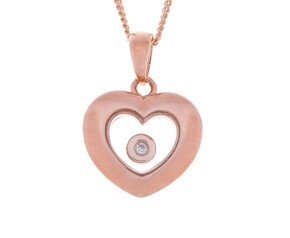 9ct Rose Gold Floating Diamond Pendant