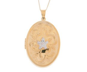 9ct Yellow Gold Floral Locket