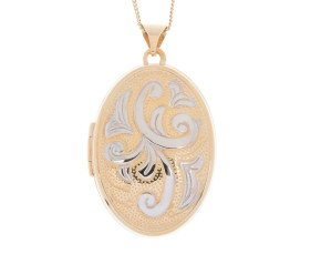 9ct Yellow & White Gold Oval Locket