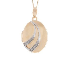 9ct Yellow & White Gold Diamond Locket