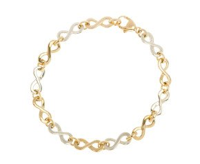 9ct Yellow & White Gold Infinity Bracelet