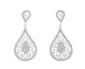 9ct White Gold 0.50ct Diamond Drop Earrings