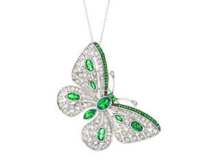 Sterling Silver Synthetic Emerald Butterfly Brooch / Pendant