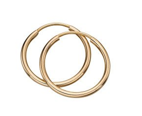 9ct Yellow Gold 16mm Sleeper Hoop Earrings