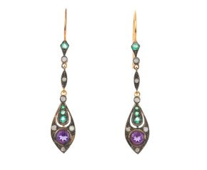 Amethsyt, Emerald & Diamond Drop Earrings