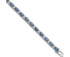 18ct White Gold 7.50ct Sapphire & 0.22ct Diamond Bracelet