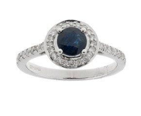 9ct White Gold 0.65ct Sapphire & 0.20ct Diamond Cluster Ring