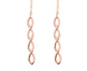 9ct Rose Gold Plait Threader Earrings