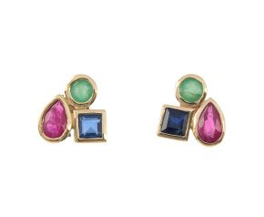 9ct Yellow Gold Ruby, Sapphire & Emerald Cluster Earrings