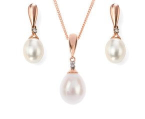 9ct Rose Gold Freshwater Pearl & Diamond Pendant & Earrings Jewellery Set