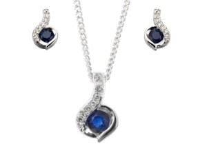9ct White Gold Sapphire & Daimond Pendant & Earrings Jewellery Set