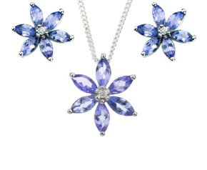 9ct White Gold Tanzanite & Diamond Floral Cluster Pendant & Earrings Jewellery Set