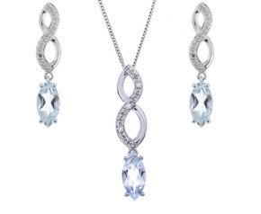 9ct White Gold 1.15ct Aquamarine & Diamond Infinity Pendant & Earrings Jewellery Set