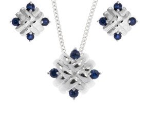 9ct White Gold Sapphire Woven Pendant & Earrings Jewellery Set
