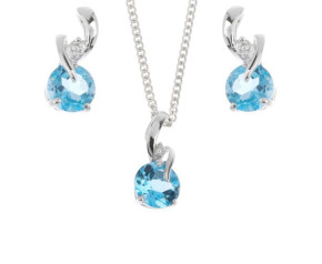 9ct White Gold Topaz & Diamond Pendant & Earrings Jewellery Set