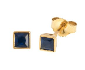 9ct Gold Square Cut 0.30ct Sapphire Stud Earrings